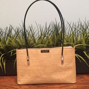 Kate Spade Woven Satchel with double black handles